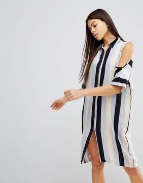 Noisy May Cold Shoulder Stripe Dress