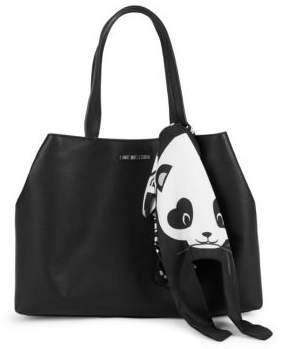 Love Moschino Panda Faux Leather Tote