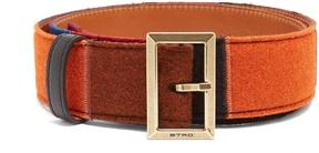 Etro Colour-block felt and leather belt