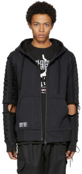 Kokon To Zai Black Lace-Up Zip Hoodie
