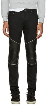 Saint Laurent Black Low Waisted Skinny Biker Jeans