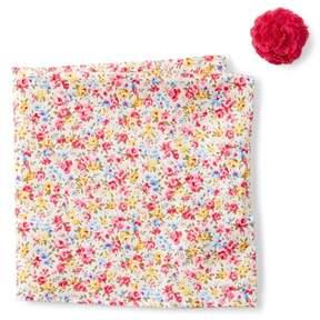 Original Penguin Bruguera Floral Pocket Square & Lapel Pin Set
