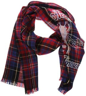 Gucci Check Wool Scarf With Bee