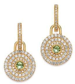 18K Yellow Gold Fantasy Green Amethyst & Diamond Drop Earrings