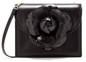 Oscar de la Renta Black Leather & PVC Mini Tro Bag