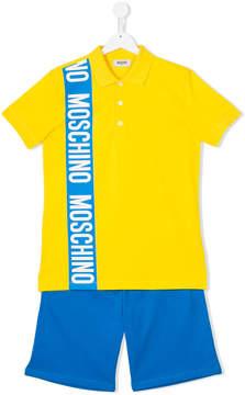 Moschino Kids logo tape polo shirt and shorts set