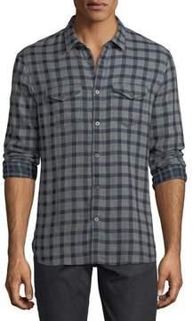 John Varvatos Plaid Cotton Western Shirt