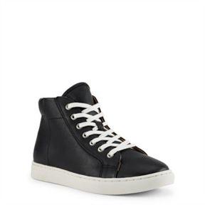 Ralph Lauren Nappa Leather High-Top Sneaker Black 11.5
