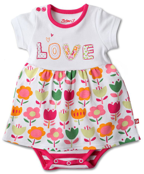 Zutano White 'Love' Skirted Bodysuit - Infant