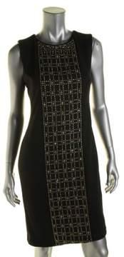Calvin Klein Women's Studded-Front Sleeveless Ponte Sheath Dress