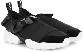 Emilio Pucci Leather-trimmed sneakers