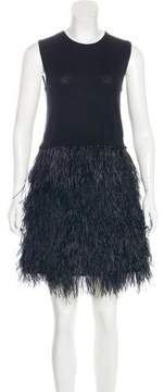Co Sleeveless Feather-Trimmed Dress