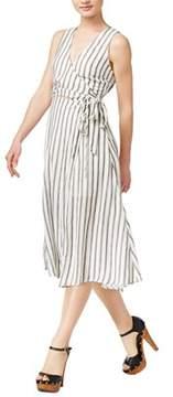 Astr Aida Striped Wrap Dress.