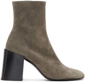 Acne Studios Taupe Suede Saul Reverse Boots