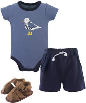 Hudson Baby Blue Seagull Bodysuit Set - Newborn & Infant