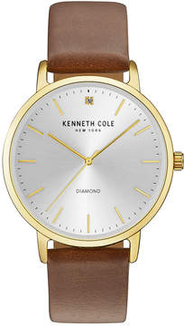 Kenneth Cole New York Men's Diamond-Accent Brown Leather Strap Watch 42mm