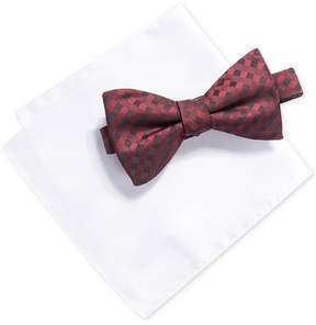 Alfani Men's Gingham Bow Tie & Solid Pocket Square Set, Created for Macy's