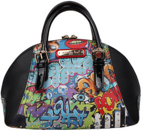 Women's Nicole Lee Street Style Graffiti Print Mini Bowler Bag