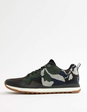 Paul Smith Rappid Knitted Camo Print Sneakers In Khaki