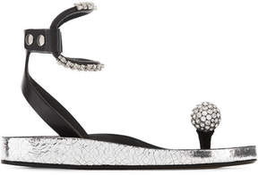 Isabel Marant Ecly Crystal-embellished Smooth And Cracked-leather Sandals - Silver