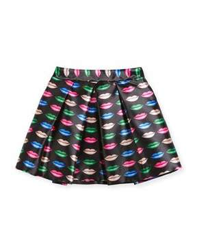 Milly Minis Kiss-Print Pleated Skirt, Size 8-14