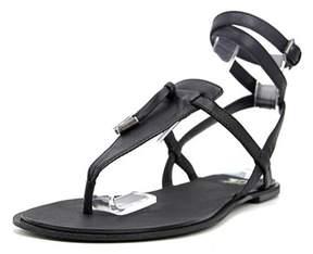 Joe's Jeans Inquire Women Open-toe Leather Black Slingback Heel.