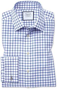 Charles Tyrwhitt Slim Fit Non-Iron Twill Grid Check Royal Blue Cotton Dress Shirt French Cuff Size 14.5/33