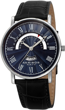 Akribos XXIV Men's Stainless Steel & Blue Dial Watch, 40mm