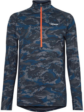 Patagonia All Weather Mesh-Panelled Printed Stretch-Jersey Half-Zip Top