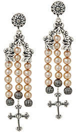 American West Sterling Cultured Pearl & CrossDangle Earrings
