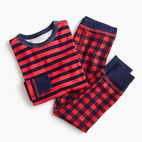 J.Crew Kids' pajama set in dark stripes and checks