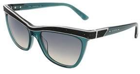 Swarovski Sk0075/s 96p Transparent Dark Green Butterfly Sunglasses.