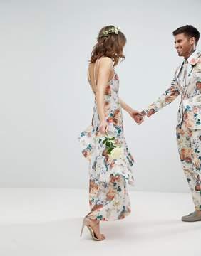 Asos DESIGN Bridesmaid ruffle hem pinny bodice maxi dress in pretty floral print