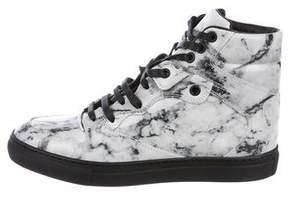 Balenciaga Marble High-Top Sneakers w/ Tags