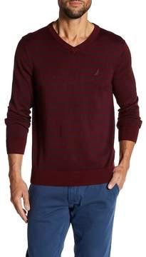 Nautica 12 Gauge Striped V-Neck Sweater