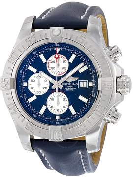 Breitling Super Avenger II Automatic Chronograph Blue Dial Blue Leather Men's Watch A1337111-C871BLLD
