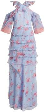 Vilshenko Alisanna ruffle-trimmed silk dress