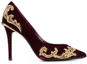 Roberto Cavalli embellished velvet pumps