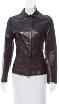 Gianni Versace Leather Button-Up Jacket