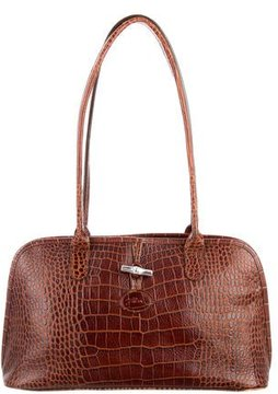Longchamp Embossed Leather Shoulder bag - BROWN - STYLE