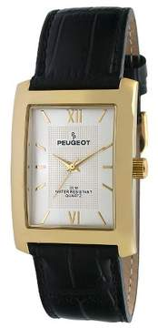 Peugeot Watches Men's Gold-tone Silver Dial Leather Strap Watch - Black