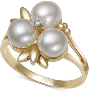 Belle de Mer Cultured Freshwater Pearl (6mm) and Diamond Accent Ring in 14k Gold, Created for Macy's