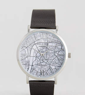 Reclaimed Vintage Inspired London Map Mesh Watch In Black Exclusive To ASOS