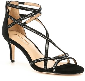 Antonio Melani Solmer Criss-Cross Rhinestone Suede Dress Sandals