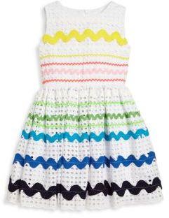 Halabaloo Toddler's & Little Girl's Multi-Stripe Eyelet Dress