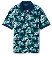 Lands' End Men's Tall Original Mesh Print Polo Shirt-Dark Cerulean Floral