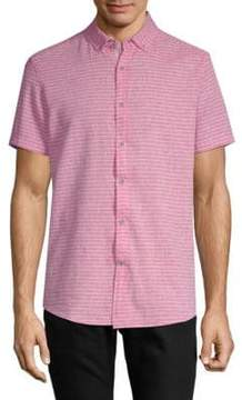 Report Collection Striped Short-Sleeve Button-Down Shirt