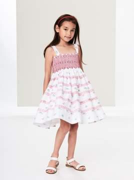 Oscar de la Renta Tossed Flowers Smocked Cotton Dress