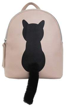 T-Shirt & Jeans Cat Faux Fur Plush Tail Small Backpack