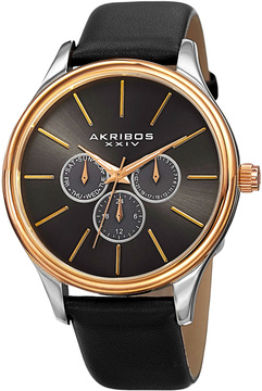 Akribos XXIV Men's Stainless Steel & Leather Watch, 44mm